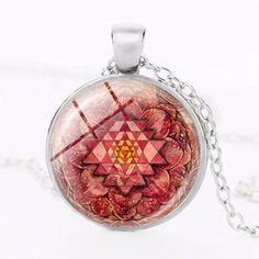 Mandala Glass Yoga Pendant Necklace Sacred Geometry Red Design