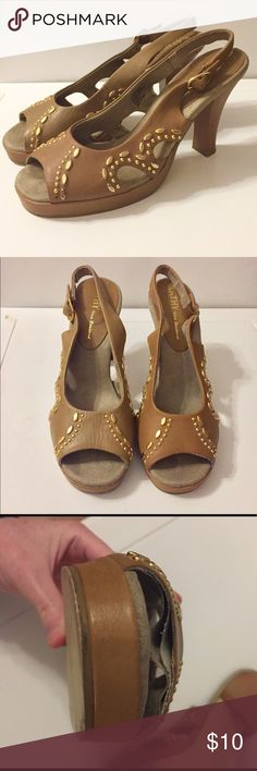 """Kathy Van Zeeland Brown Peep-toe Sandal Pumps 7.5 Kathy Van Zeeland Brown Peep-toe Sandal Pumps with gold beaded accents. Size 7 1/2. Heel measures 3.75"""". Leather upper. Lining is coming undone but it is not noticeable when worn. See picture. Otherwise outer In excellent condition. Plenty of wear left in them. Perfect summer shoe. Very versatile. Kathy Van Zeeland Shoes Sandals"""