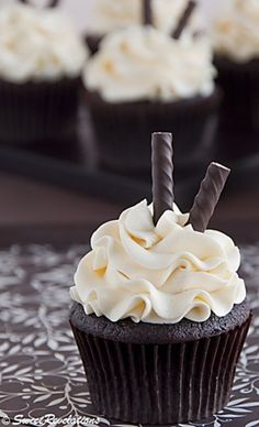 Dark Chocolate Peppermint Cupcakes. Click on the image for the ingredients and discover more delicious recipes.