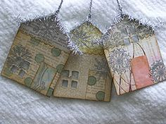 house ornaments Chipboard covered with decorative papers and embossed with silver embossing powder with stamps