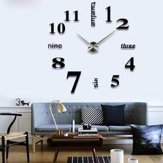 Flylinktech® DIY Horloge Murale Grande Moderne Pendule Créative Stickers Muraux Pour Décoration Salon Maison Argent (Noir)