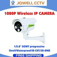 IP kamera Bezdrôtové pripojenie so slotom WIFI TF karta, IP kamera s rozlíšením HD 1080p, ONVIF protokol IP66 vodotesný IR CUT 65M nočné videnie na diaľku