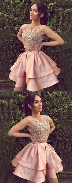 Cute round neck lace pink short prom dress, pink cute homecoming dresses,YY28