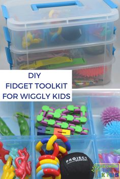 DIY Fidget Toolkit for Wiggly Kids. toys DIY Fidget Toolkit for Wiggly Kids Sensory Tubs, Sensory Rooms, Sensory Activities, Sensory Play, Infant Activities, Activities For Kids, Sensory Diet, Calming Activities, Pediatric Occupational Therapy