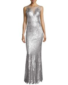 CATHERINE DEANE Chloe Sleeveless Metallic Lace Gown Metallic Silver $1895(Compare at $2100 elsewhere) ANNE'S at THE TRUMP BUILDING NYC annesofnewyork.com