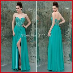 Sexy Evening Dress Sweetheart Appliqued High Slit A-Line Chiffon New 2014 Long Prom Dresses US $161.00