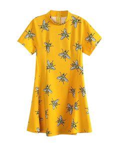Bee Print Short Sleeves Yellow Dress