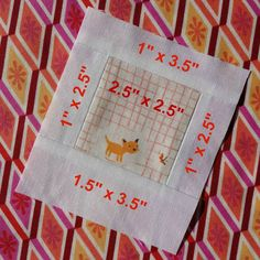 """Polaroid quilt blocks are super fast to make and are great for fussy cutting and scraps. You can chain piece them too. Start with a 2.5"""" square. 2. Sew on both sides a 1"""" x 2.5"""" strip of white. 3. Sew a 1"""" x 3.5"""" piece on top. 4. Sew a 1.5"""" x 3.5"""" piece on the bottom. Done! When you recieve your polaroid blocks, trim to 3"""" x 3.5"""". Then you can frame them in whatever colour background you like to make a fun mini quilt, pillow, tote bag or whatever you can imagine! #polaroidgreetingswap"""