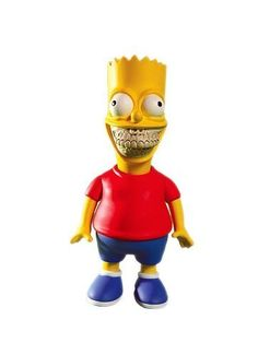 "Bart Simpson Grin Vinyl Figure Ron English by Ron English. $134.95. Medium: Vinyl. Height: 11"". Designer: Ron English. The Bart Simpson GRIN Designer Vinyl Figure by artist Ron English. Stands 11"" tall and is limited to only 100 pieces worldwide!! Comes in a brand new unopened bag with header card!!"