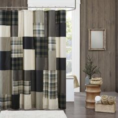 Woolrich Cotton Shower Curtain in Tan - Olliix a striking look in your space with the Woolrich Winter Hills Collection. This 144 thread count cotton shower curtain features several different plaids and solids pieced together for Farmhouse Shower Curtain, Bathroom Shower Curtains, Bath Shower, Curtain Accessories, Shower Accessories, Tostadas, Lodge Look, Shower Remodel, Remodel Bathroom