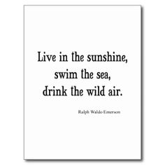 Vintage Emerson Live in Sunshine Quote Post Card