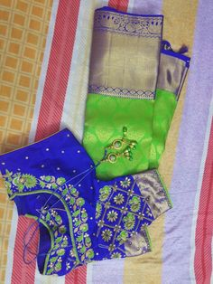 bridal light green blue pattu saree with work blouse