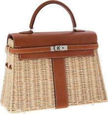 Luxury Accessories:Bags, Hermes Limited Edition 36cm Barenia Leather & Wicker PicnicKelly Bag with Palladium Hardware. ...