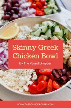 Skinny Greek Chicken Bowls via @pounddropper Skinny Recipes, Ww Recipes, Greek Recipes, Chicken Recipes, Cooking Recipes, Healthy Recipes, Skinny Meals, Turkey Recipes, Potato Recipes