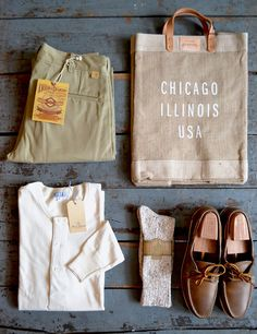 The Real McCoys - Double Diamond - Trousers Apolis - Chicago Market Bag Merz b. Schwanen - Natural Henley Two Feet Ahead - Oatmeal Socks Oak Street Bootmakers - Natural Boat Shoes