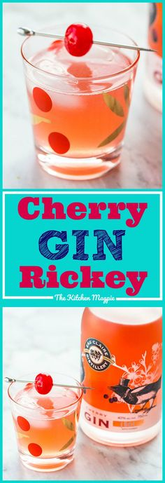 A sweet variation on the traditional Gin Rickey, this Cherry Gin Rickey cocktail takes this cocktail to the next level! #gin #cocktails #cherry #booze #recipes