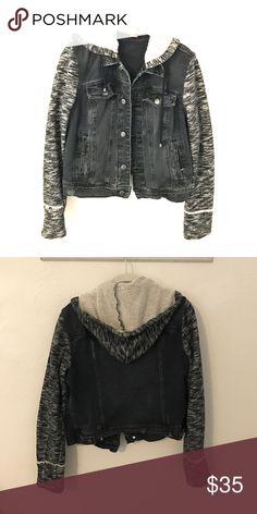 Free People denim jacket with hoodie Black denim jacket with soft hoodie and sleeves, mildly distressed Free People Jackets & Coats Jean Jackets