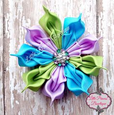 Peacock Flower Peacock Hair Bow by LilPrincessBowtique8 on Etsy