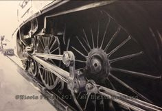 """""""Union of South Africa wheels"""" drawing  - A4 size print £20. - A3 size print £40. - LNER Class A4 4488 steam locomotive (BR 60009) Designed by Sir Nigel Gresley and built in 1937.  Pictured here in the engine shed when she visited East Lancashire Railway in 2014.  Please note that you are buying a Limited Edition print of my drawing, not the original  Prints will be signed, numbered and professionally mounted."""