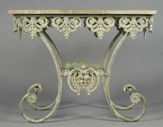 A French Iron And Marble Pastry Table Height 35 1 2 X Lot
