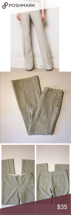 Anthropologie Elevenses Trouser Anthropologie Elevenses the Brighton plaid wide leg trouser pants. Wool blend with a soft lining inside with side button closure. Anthropologie Pants Trousers
