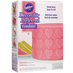 Our Pink Decorator Preferred Fondant has a vanilla flavor that your guests will love! Each package contains 24 oz (1.5 lbs) of flexible but sturdy fondant. Vibrant pink fondant is perfect for kids' birthday cakes, Valentine's Day sweets, baby showers, flowers, celebrations and much more! Made in a facility that also processes tree nuts, egg, milk and soy products.