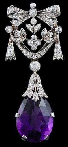 Platinum Diamond Amethyst Pin - Yafa Jewelry