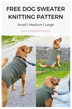 This dog sweater knitting pattern is knit flat, in one piece on straight needles. Available to make in three sizes, small, medium and large. The knitted dog sweater has a textured stitch pattern too. Crochet Dog Sweater Free Pattern, Knitting Patterns For Dogs, Dog Coat Pattern, Knit Dog Sweater, Knitting Projects, Coat Patterns, Free Knitting, Crochet Projects, Large Dog Sweaters
