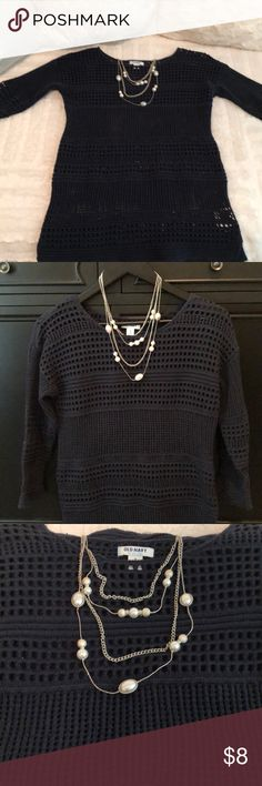 Women's sweater and necklace set Size medium Old Navy navy blue sweater and necklace. Excellent condition/barely worn.   I wear a uniform for work so all items being sold are in fantastic condition, and I'm just cleaning out my closet for an upcoming move. Old Navy Sweaters