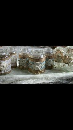 Msson jars with lace Glass Jars, Mason Jars, Wedding Planning, Wedding Inspiration, Rustic, Lace, Vintage, Ideas, Cute