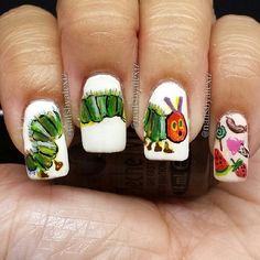 The Very Hungry Caterpillar / 15 Works Of Nail Art Inspired By Your Favorite Children's Books