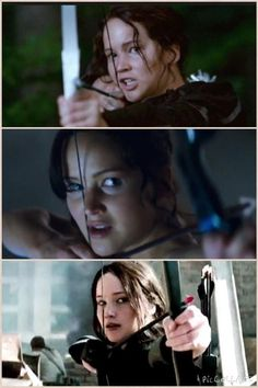 The first pic (hunger games) looks like she's scared. The 2nd pic (catching fire) she looks mad. & in the 3rd pic (mockingjay pt 1) she looks like she's just tired and wants it all over with.... This is what I thought when I saw this.