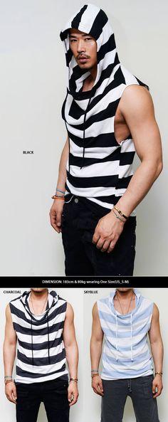Tops :: Hoodies :: Open Armhole Big Stripe Cutoff Hood Tee-Hoodie 74 - Mens Fashion Clothing For An Attractive Guy Look