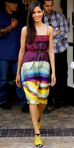 Freida Pinto in Michael Angel and Roger Vivier shoes