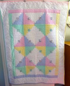 Amish Quilt for Sale - Amish Infant Quilt Log Cabin Pattern Unisex Colors Quilt Baby, Baby Patchwork Quilt, Baby Quilt Patterns, Baby Girl Quilts, Girls Quilts, Quilting Patterns, Baby Bedding, Applique Patterns, Quilting Ideas
