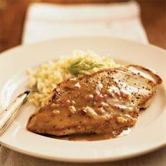 Pan-Roasted Chicken Cutlets with Maple-Mustard Dill Sauce | MyRecipes.com Left out dill, orange zest adds a nice flavor.