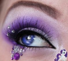 Rarity, purple eyeshadow with senquin and stone accents