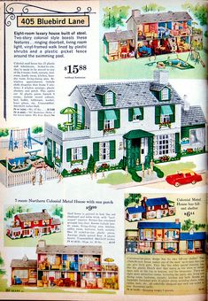 "1962 Sears Christmas Book.  We would peruse this book and circle everything we wanted for Christmas!  I had one of these metal dollhouses...note the ""fallout shelter"" referenced in the right-lower corner of the page"