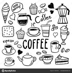 Collection of hand-drawn pictures of coffee cups and desserts Vector illustration. Coffee Doodle, Coffee Art, Coffee Logo, Iced Coffee, Coffee Time, Coffee Drinks, Morning Coffee, Coffee Shop, Coffee Cups