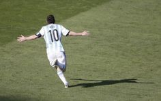 Argentina's forward and captain Lionel Messi celebrates scoring during the Group F football match between Argentina and Iran at the Mineirao Stadium in Belo Horizonte during the 2014 FIFA World Cup in Brazil on June World Cup 2014, Fifa World Cup, Football Match, Football Team, Lionel Messi, Messi News, Messi Argentina, Star Wars, Sports Betting