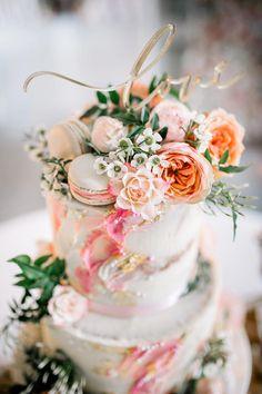 Cake Pink Artist Palette Painted Brush Work Gold Leaf Flowers Macarons Love Topper Lapstone Barn Wedding Ideas Cotswolds Katie Hamilton Photography #uniqueweddingcakes