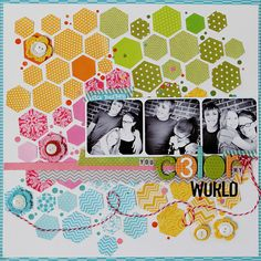 #papercraft #scrapbook #layout   With a punch and few pieces of patterned paper, you could make this geometric layout. Colors! By KNeddo-You 3 color my world Free-for-All-1