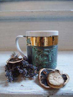 Hand Painted MugMug SetPainted Coffee MugsGold Coffee by Delyana, $26.00