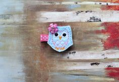 Baby / Toddler / Girl Hair Clips, Light Blue Owl Hair Clip on Etsy, $4.00 #hairclips #owl #partyfavors #toddlers #babygift