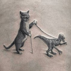 from @svenrayen -  A blind cat walking his guiding-velociraptor yeah that's right :)  Thanks Annemie!  Done #singleneedle at @studio_palermo. Wraped around the leg a bit so pasted two pictures together :) #studiopalermo #antwerpen #blindcat #velociraptor