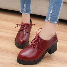 17.99  Femme Chaussures Similicuir Printemps Automne Confort Gros Talon  Lacet Pour Décontracté Noir Rouge d6656a61a305