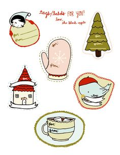 Roundup of Free Printable Holiday Gift Tags - lots of cute ones to choose from!