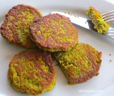 "Lentil-Zucchini Pancake Recipe - Only 145 calories for one serving. My nephew gobbled a pancake down and asked, ""Are these green potato pancakes""?  This recipe is kid approved."