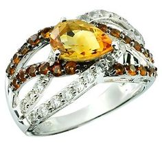 3.50 Carats Pear Shape Citrine with Madeira Citrine and White Topaz Sterling Silver Ring available at joyfulcrown.com