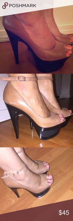 Jessica Simpson platforms Tan and black platforms Jessica Simpson Shoes Platforms